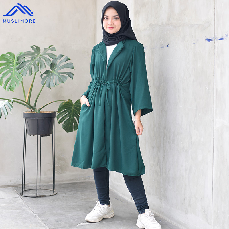 Outer Muslim Cardigan Polos ITY Crepe All Size Basic OG - Ijo Botol