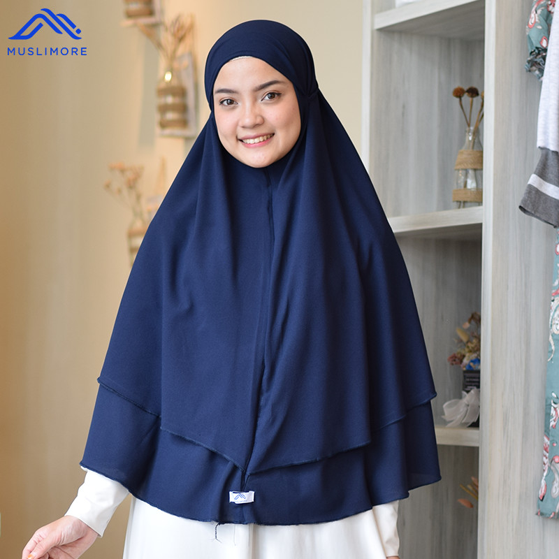 Bergo Instan 2 Layer Tali Aktif Diamond Crepe - Navy