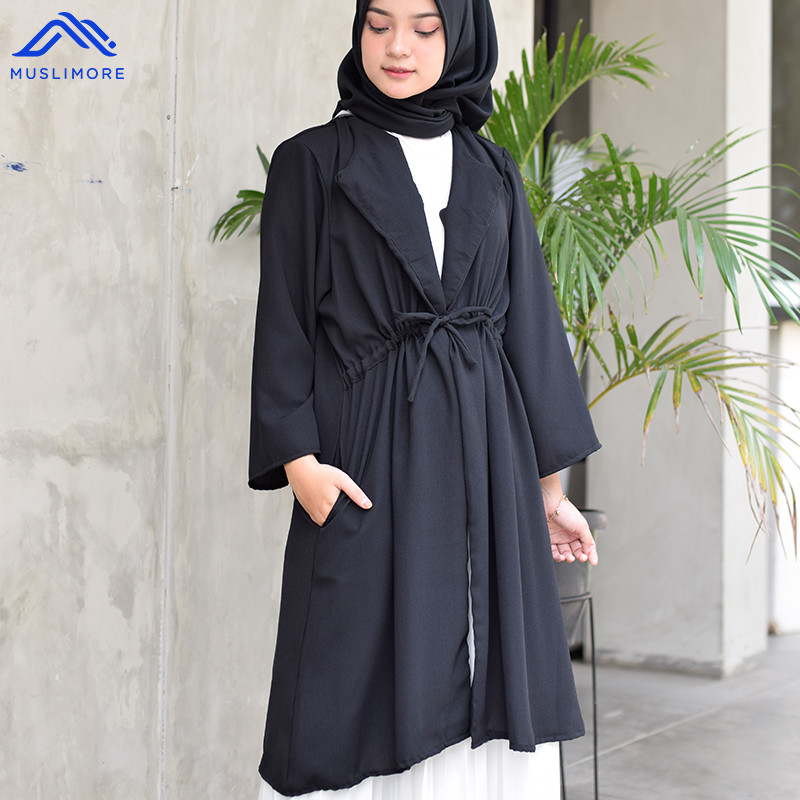 Outer Muslim Cardigan Polos ITY Crepe All Size Basic OG - Hitam