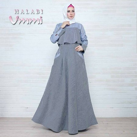 CDCMODELS - Gamis Dress Wanita Sl. Halabi Ummi Grey Blue