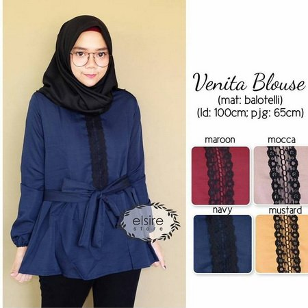 CDCMODELS - Gamis Dress Wanita Rx. Venita Blouse Navy